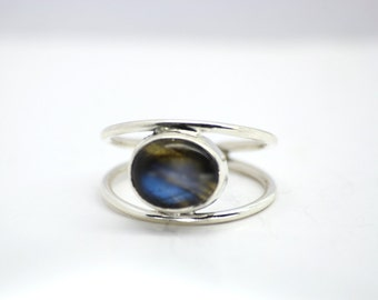 Two Band Moonstone Silver Ring