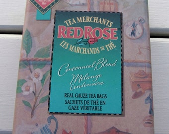 Red Rose Tin, Tea Merchants Red Rose Tin, Vintage Red Rose Tin, Vintage Red Rose Teabags Tin