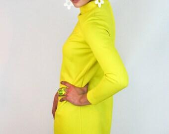 RESERVED// Vintage 1960's Jonathan Logan mod neon yellow dress