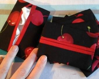"""Cherry 100% cotton """"kleenex"""" pocket case"""