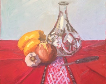 Still Life Painting on canvas, wall art, Original Oil Painting, impressionist figurative, home decor, wall art, kitchen art, wedding gift