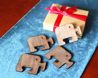 Elephant Coaster -Laser Cut Wood Coasters - Set of 4 - Personalized Gift, Holiday Gift Box - Timber Green Woods - B009