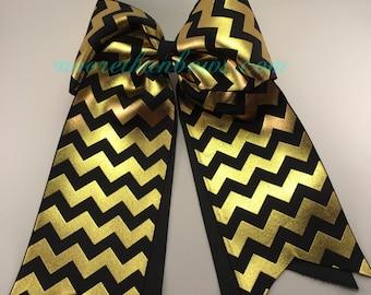 Black & Gold Metalic - Chevron Cheerleader Bow