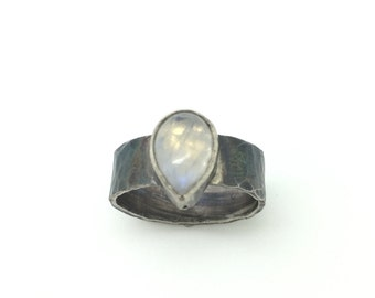 Sterling silver oxidized hammered moon stone ring