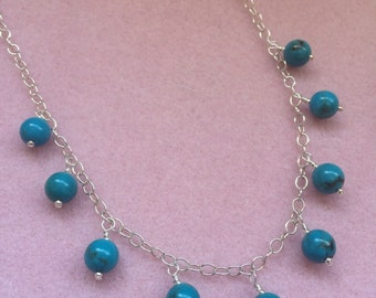 Round Blue Turquoise and Sterling Silver Dangle Necklace