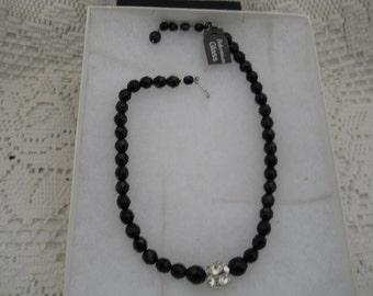 Vintage Rhinestone Black Crystal Necklace #549