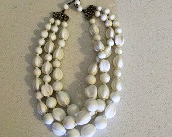 Lovely White Vintage Three Strand Necklace