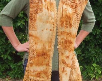 wrap, rust dyed doily wrap
