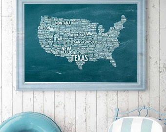 Chalkboard map etsy us map typography print instant download chalkboard print united states typography wall art gumiabroncs Gallery