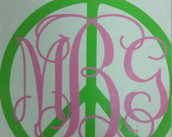 Peace Sign Monogram Decal