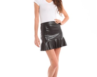 Faux Leather Mini Flare Skirt