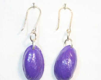 Purple drop earrings, hand made and painted from pistachio nut shells