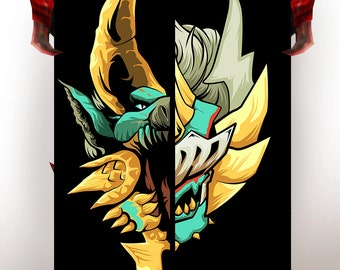 Monster Hunter, Poster, Zinogre Half/Half, Licensed by CAPCOM, Monster Hunter 4, MH4U