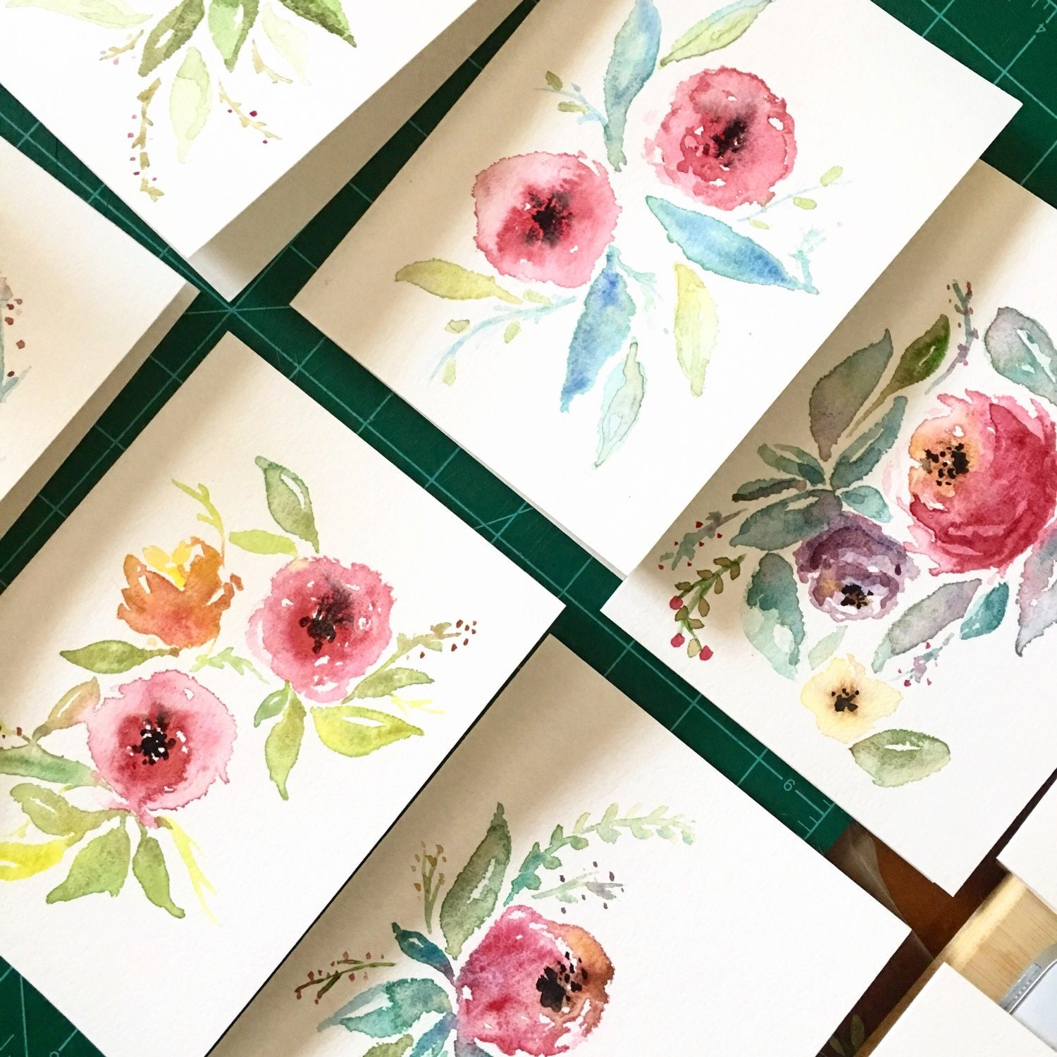 Hand Made Watercolor Cards Greeting Cards Thank You Cards