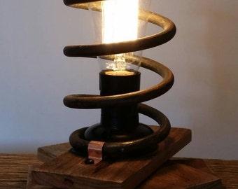 Handmade Spring & Reclaimed Timber Desk Lamp