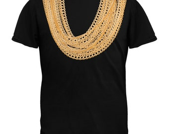 Gold Chains Black Adult T-Shirt