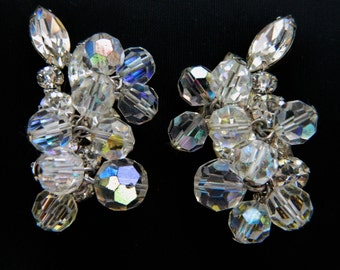 "Aurora Borealis Beaded Cluster Statement Earrings Clip On 2"" Silver Tone Mid Century Costume Jewelry"