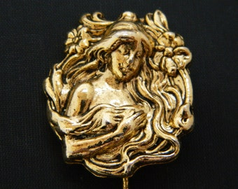 Vintage Art Nouveau Style Lady Woman Figural Stick Pin Gold Tone 3.25""