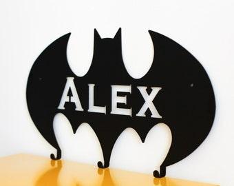 Batman personalized wall hanger for superhero, boys room, custom coat rack, boys gift