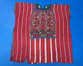 Guatemalan huipil, Todos Santos circa 1990, hand woven, hand embroidered with silk and acrylic