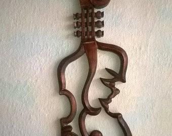 23 inches violin, Wood carving violin, Violin,  Wooden violin, Hand made Violin,  Wedding violin, Carving wall violin