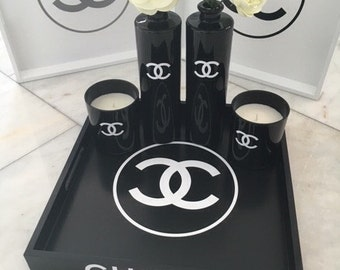 Chanel set, tray & candles