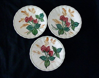 "THREE Blue Ridge Pottery Jubilee Fruits STRAWBERRY PATCH (Lot of 3) 6"" Saucers Vintage Southern Potteries Hand Painted (B33) 7556"