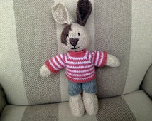 Hand Knitted Rabbit, Bunny Rabbit, Knit Rabbit, Knitted Animal, Knitted Rabbit wearing dusky pink and white striped jumper and grey shorts