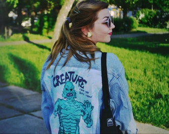 Creature from the black lagoon handpainted denim jacket