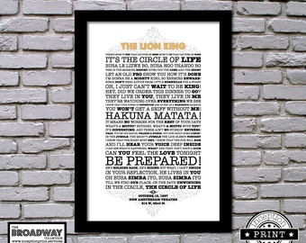 The Lion King - Framed - Quotes - Lyrics - Typography Print