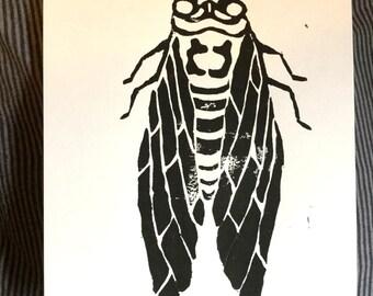 Cicada Lino Print