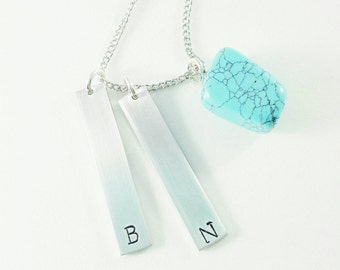 Turquoise Stone Initial Necklace- You choose the length.