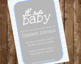 5x7 Blue Chevron Baby Shower Invitation, digital download JPEG and PDF