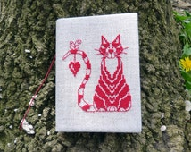 Medium embroidered diary Cat in Love - Soft diary with cat - Recycled fabric diary with cross-stitch - Eco-friendly diary for her