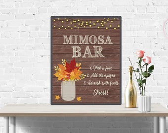 Fall Mimosa Bar Sign, Rustic Mason Jar, Autumn Leaves Wedding Bar Sign, Bubbly Bar, Bridal Shower Bachelorette, Birthday, Anniversary Decor