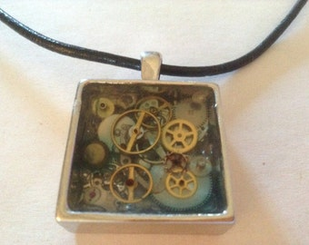 Steampunk necklace - deep square