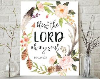 Bible Verse Art print, printable Scripture wall art decor, INSTANT DOWNLOAD nursery bible verse, Bless the Lord, Psalm 103:1, Christian Art