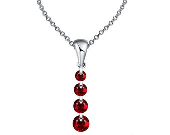 Charming Crystal Long Water Drop Necklaces & Pendant Statement Necklace for Women (Red)