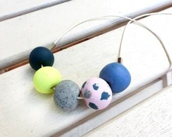 Fun Yellow & Pink Polkadot Australian Handmade Polymer Clay Necklace