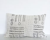 Mudcloth cushion cover | vintage Mali mudcloth | cream white
