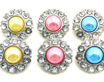 SHINY Pearl Buttons W/ Clear Surrounding Rhinestone Buttons Acrylic Rhinestones Coat Buttons Button Bouquets DIY Craft 25mm 2997