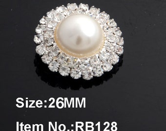 Ivory Pearl Buttons Silver Tone Metal Pearl Buttons W/ 2 Rows Of Czech Glass Rhinestones Button Brooch Bouquet Bridal Buttons 26mm RB128