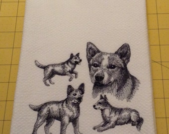 Red Heeler Collage Sketch Embroidered Kitchen Hand Towel, Williams Sonoma All Purpose, 100% cotton & XL, Made in Turkey