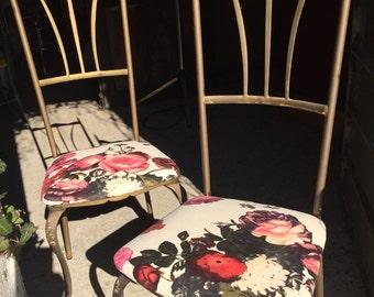 Pair of brass 50/60 years italian design chairs
