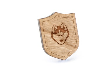 Husky Lapel Pin, Wooden Pin, Wooden Lapel, Gift For Him or Her, Wedding Gifts, Groomsman Gifts, and Personalized
