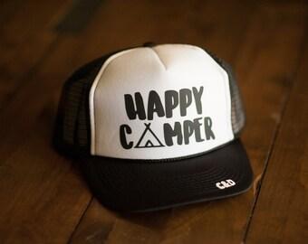 Happy Camper Trucker Hat | Black and White Hat, Summer Hat, Beach Hat, Ball Cap, Custom Trucker Hats, Snapback