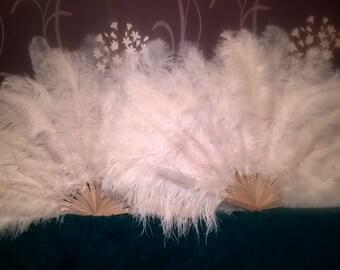 Pair ostrich feather burlesque fans choose your colour