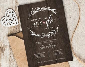 Wedding Rehearsal Dinner Invitation, INSTANT DOWNLOAD, Printable Rehearsal Dinner Invite, Editable PDF Template, Digital Download, #103RD