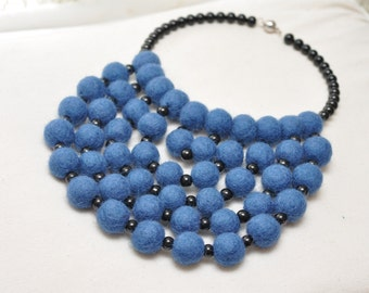 Blue wool necklace  Felted necklace Handmade balls necklace Three wire necklace Felt beads necklace Felted wool beads  Eco Jewelry