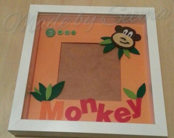 SALE! Handmade Monkey design photo mount with monkey and leaves design. In oranges and greens. Holds photo 14x14cm. Comes with photo corners